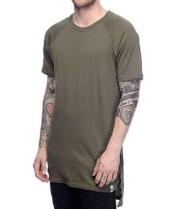Cross Colours CXC Hi Lo Military Green Elongated T-Shirt