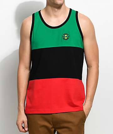 Cross Colours Color Block camiseta sin mangas en verde, negro y rojo