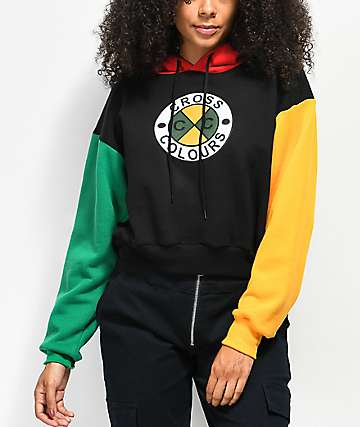 f7a97af3c256 Cross Colours Colorblock Crop Hoodie