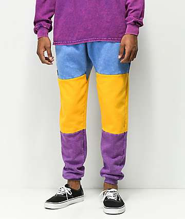 Cross Colours Colorblocked Fade Wash Jogger Sweatpants