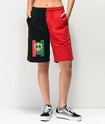 Cross Colours Flag Logo Black, Green, Yellow & Red Color Block Shorts