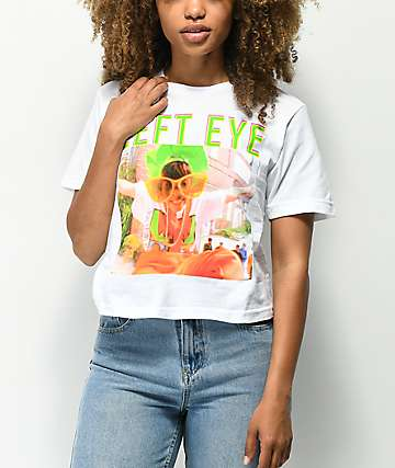 Cross Colours Left Eye White Crop T-Shirt