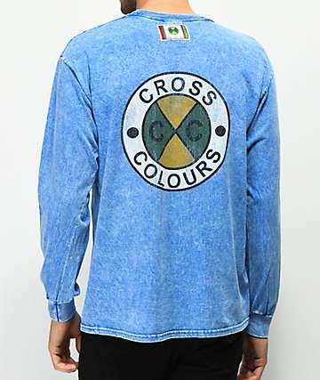 Cross Colours Logo camiseta azul de manga larga con lavado acido