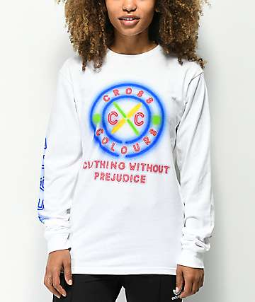 Cross Colours Neon Circle White Long Sleeve T-Shirt