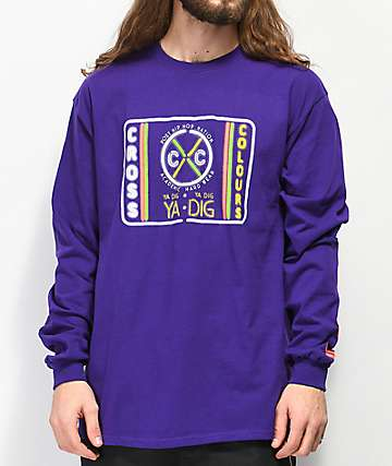 Cross Colours Neon Label Purple Long Sleeve T-Shirt