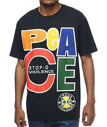 Cross Colours Peace Black T-Shirt