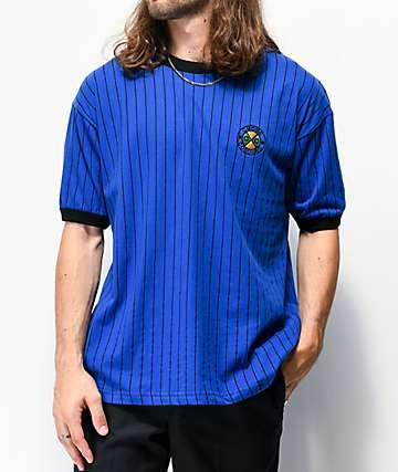 Cross Colours Pinstripe Ringer Blue T-Shirt