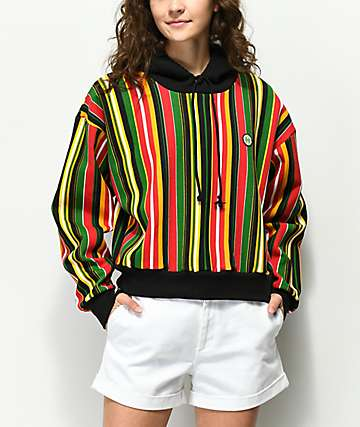 Cross Colours Retro Barcode Stripe Cropped Hoodie