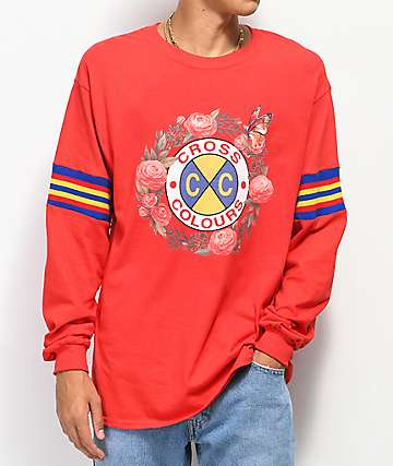 Cross Colours Rose Circle camiseta roja de manga larga