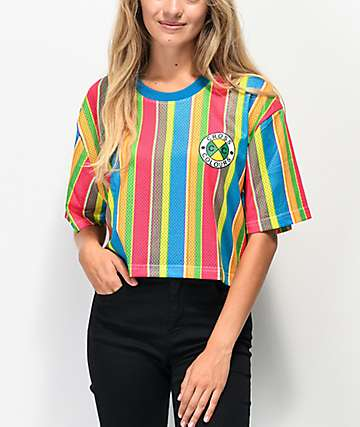 Cross Colours Sherbet Stripe Mesh Crop T-Shirt
