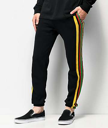 Cross Colours Stripe Logo Black Jogger Sweatpants