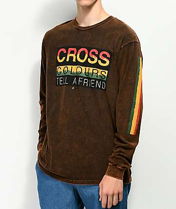Cross Colours Tell A Friend Black Wash Long Sleeve T-Shirt