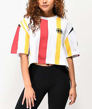 Cross Colours Vertical Stripe White Crop T-Shirt