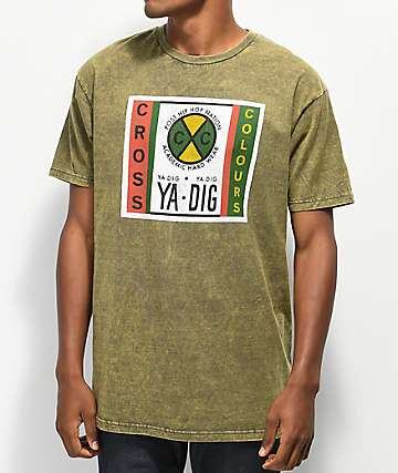 Cross Colours Ya Dig Label Green Acid Wash T-Shirt