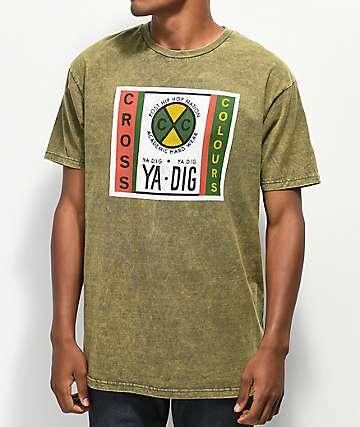Cross Colours Ya Dig Label Green Acid Wash T-Shirt
