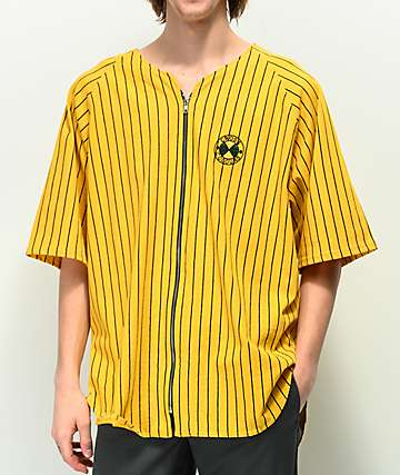 Cross Colours Yellow Striped Baseball Jersey