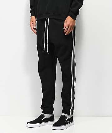 Cross Colours joggers negros con rayas blancas