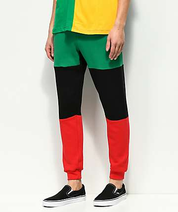 Cross Colours pantalones jogger con diseño color block en verde, negro y rojo