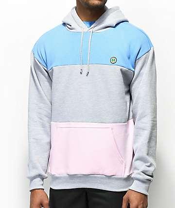 Cross Colours sudadera con capucha estilo colorblock en gris, azul y rosa