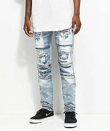 Crysp Denim Ali Distressed Stone Washed Light Blue Moto Jeans