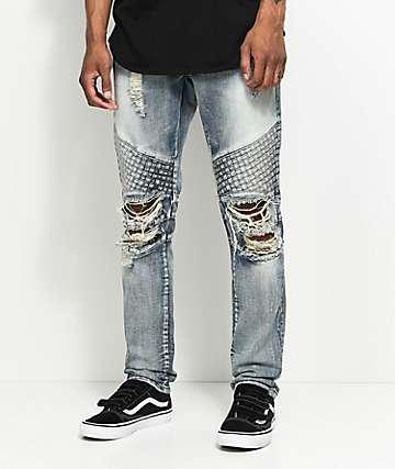 Crysp Denim Basket Woven jeans rotos en azul claro