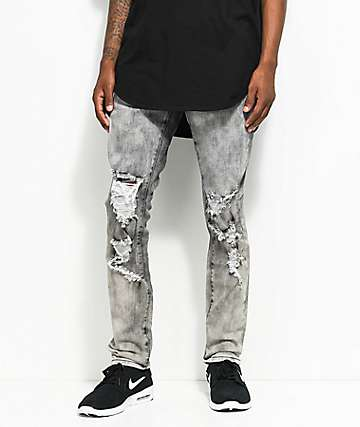 Crysp Denim Joyner Distressed Washed Grey Jeans