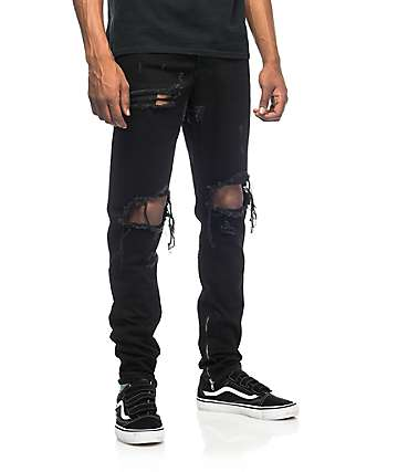 Crysp Denim Pacific Black Ripped Jeans