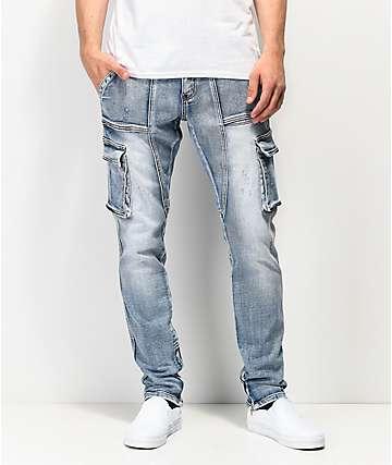 c9e6df48fd4477 Crysp Denim Pacific Blue Cargo Denim Jeans