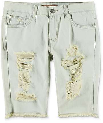 Crysp Denim Prophets Light Blue Ripped Shorts