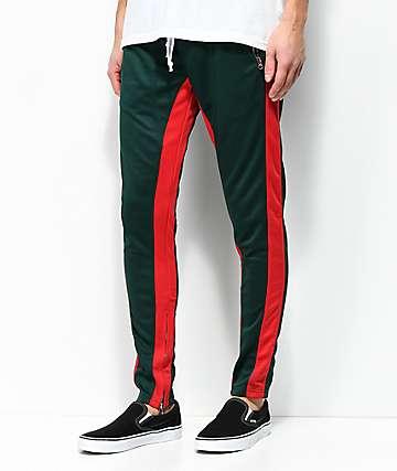 Crysp FB pantalones de chándal en verde oscuro y rojo