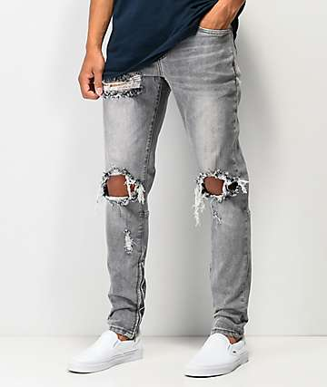 919175291 Crysp Pacific Slate Ripped Denim Jeans