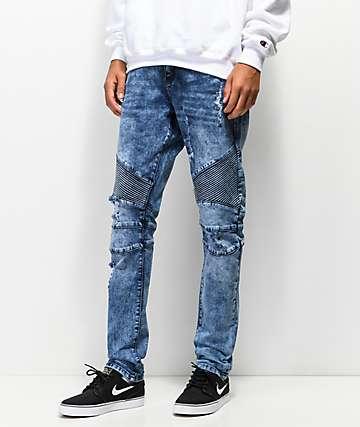 e9d2d3c45e22b0 Crysp Skywalker Blue Wash Moto Jeans