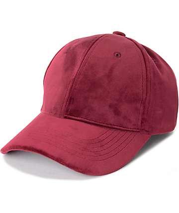 D & Y gorra béisbol de terciopelo en color borgoño