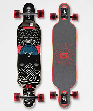 "DB Pioneer 40"" Drop Through longboard completo negro y rojo"