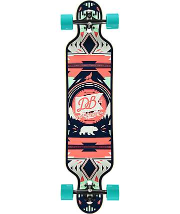 "DB Urban Native Red & Seafoam 40""  Drop Through Longboard Complete"