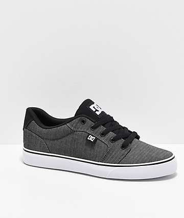 DC Anvil TX Black Resin & White Skate Shoes