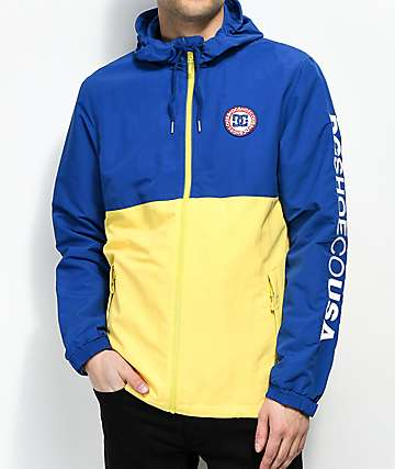 DC Bah Way Navy & Yellow Colorblock Windbreaker Jacket