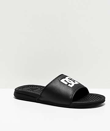 DC Bolsa Black & White Slide Sandals