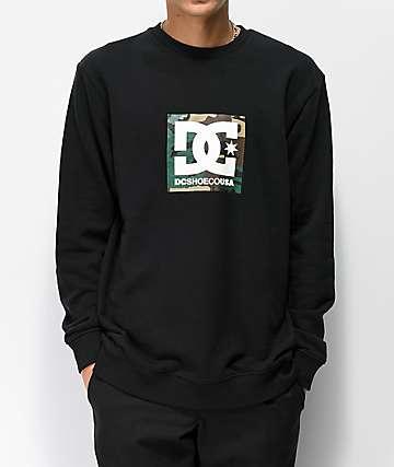 DC Camo Boxing sudadera negra con cuello redondo