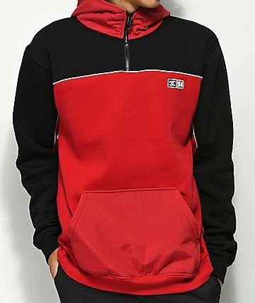 DC Clewston sudadera con capucha roja y negra