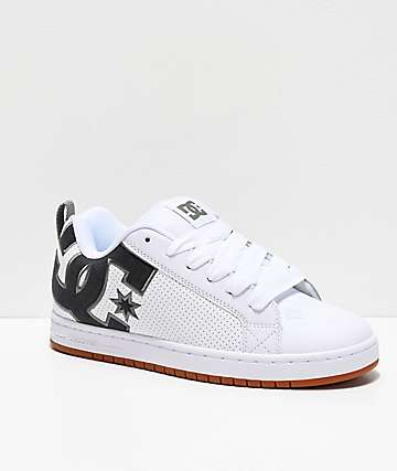 DC Court Graffik SE White, Black & Grey Skate Shoes