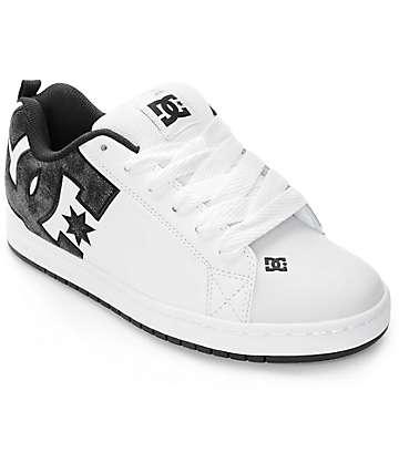 DC Court Graffik SE White & Black Acid Skate Shoes