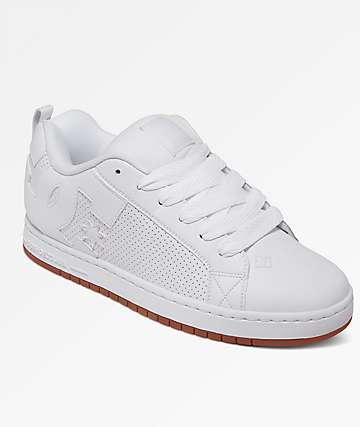DC Court Graffik White, White & Gum Shoes