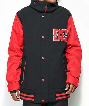 DC DCLA 0K chaqueta de snowboard roja y negra