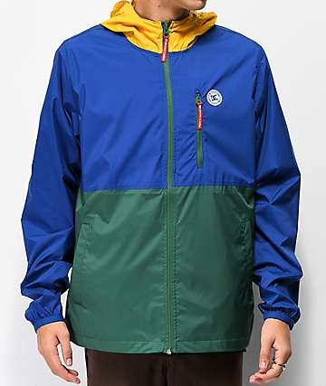 DC Dagup Yellow, Blue & Green Color Block Windbreaker Jacket