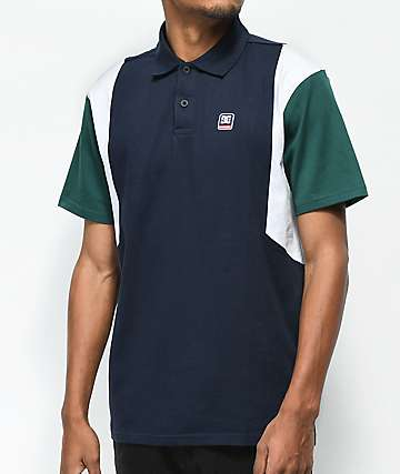 DC Fenton Black, Green & White Polo Shirt