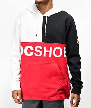 DC Hambledon Colorblock White, Black & Red Hoodie