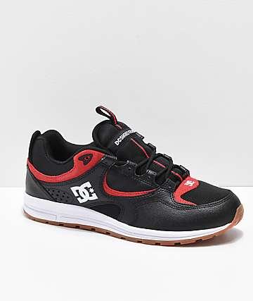 DC Kalis Lite zapatos de skate negros, rojos y blancos