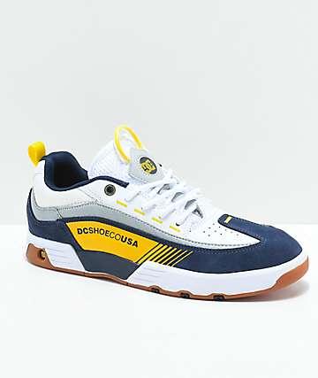 DC Legacy 98 Slim zapatos azules, blancos y amarillos