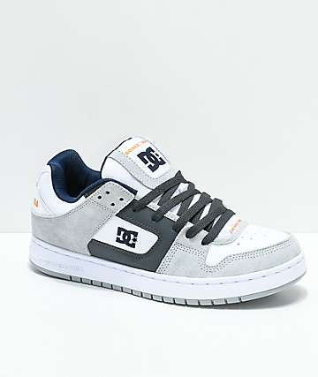 DC Manteca Grey, White & Navy Skate Shoes